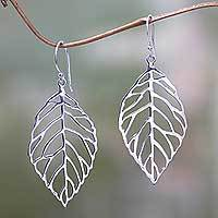 Sterling silver dangle earrings, 'Bali Bay Leaf' - Handcrafted Balinese Leaf Theme Silver Earrings