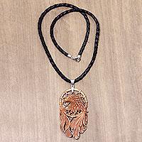 Leather and bone pendant necklace, 'Proud Eagle' - Bone and Leather Handmade Eagle Pendant Necklace
