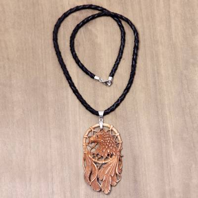 Leather and bone pendant necklace, 'Proud Eagle' - Bone and Leather Handmade Eagle Pendant Necklace