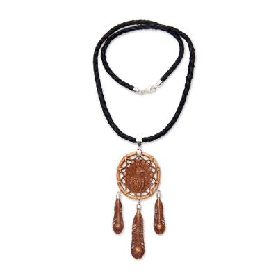 Balinese Hand Carved Bone and Leather Peacock Necklace