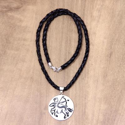 Hand carved bone sagittarius pendant leather necklace sagittarius leather and bone pendant necklace sagittarius hand carved bone sagittarius pendant leather aloadofball Gallery
