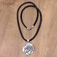 Leather and bone pendant necklace, 'Scorpio' - Scorpio Leather Necklace Hand Carved Bone Pendant