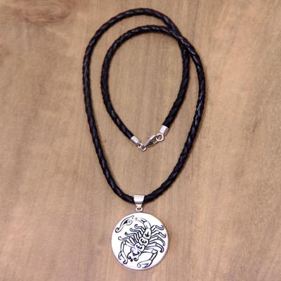 Leather and bone pendant necklace, 'Scorpio' - Scorpio Leather Necklace Hand Carved Bone Pendant