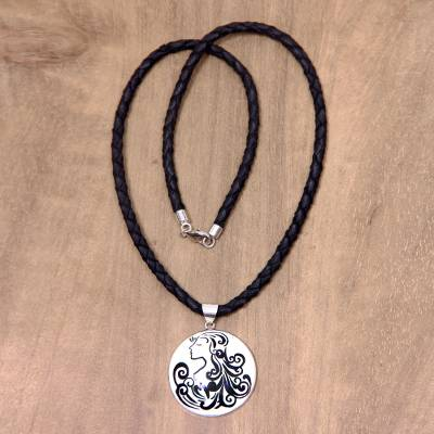 Leather and bone pendant necklace, 'Virgo' - Artisan Crafted Virgo Zodiac Leather Cord Pendant Necklace