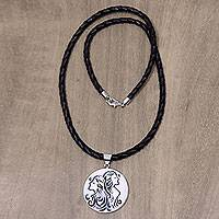 Leather and bone pendant necklace, 'Gemini' - Balinese Gemini Zodiac Pendant Necklace on Leather Cord