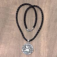 Leather and bone pendant necklace, 'Pisces' - Balinese Hand Crafted Pisces Zodiac Leather Pendant Necklace