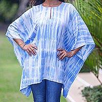 Rayon tunic, 'Blue Banda Sea' - Blue White Tie-dye Tunic Caftan Rayon Top