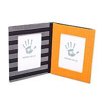 Cotton photo frame wallet, 'Progo Black Waterfall' (3.5x5) - Artisan Crafted Cotton Wallet for 2 Photos (3.5x5)