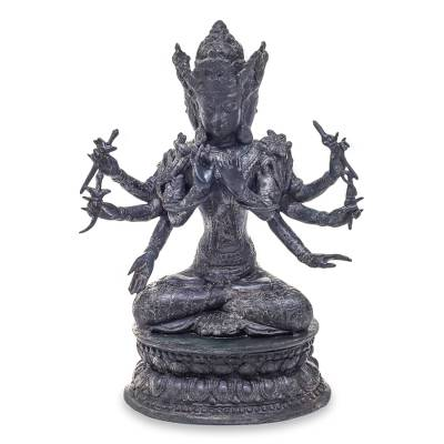 Bronze sculpture, 'Trimurti' - Hindu Triad Antiqued Bronze Sculpture from Bali