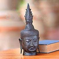Bronze sculpture, 'Spiritual Buddha' - Antiqued Bronze Buddha Head Sculpture from Bali