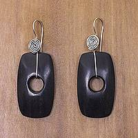 Ebony wood dangle earrings, 'Tonga Tornado' - Fair Trade jewellery Ebony and Sterling Silver Hook Earrings