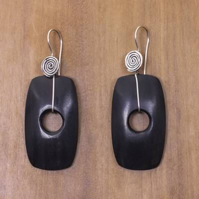 Ebony wood dangle earrings, 'Tonga Tornado' - Fair Trade Jewelry Ebony and Sterling Silver Hook Earrings