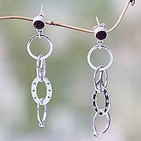 Garnet dangle earrings, 'Peace Circles' - Peace Symbol Hand Crafted Garnet and Silver Dangle Earrings