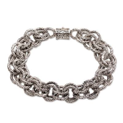 Sterling silver chain bracelet, 'Clouds' - Opulent Sterling Silver Chain Bracelet from Bali