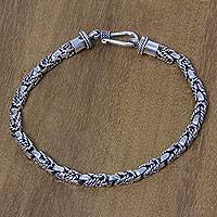 Sterling silver braided bracelet, 'Sinnet'