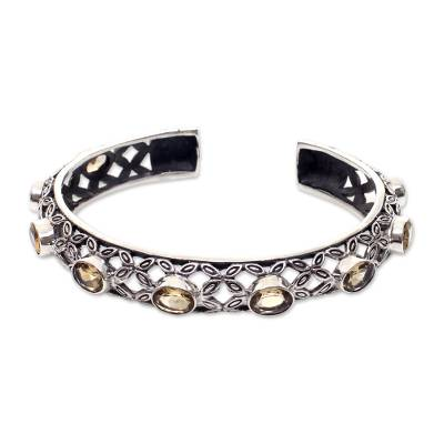 Citrine cuff bracelet, 'Java Kawung' - Artisan Crafted Sterling Silver and Citrine Cuff Bracelet