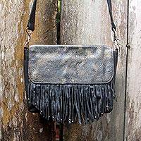 Leather shoulder bag, 'Losari Midnight' - Antiqued Black Leather Handcrafted Shoulder Bag with Fringe