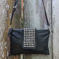 Leather shoulder bag, 'Empire' - Studded Black Leather Shoulder Bag with Removable Strap