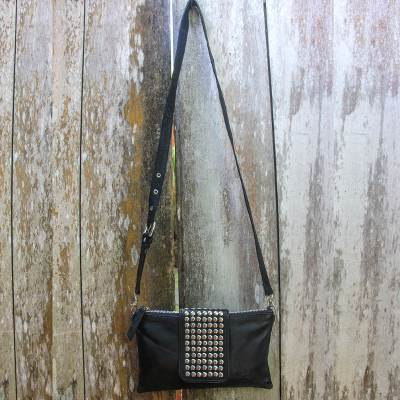 NOVICA Black Leather Shoulder Bag Stylish Lady