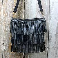 Leather shoulder bag, 'Sulawesi Style' - Black Leather Handcrafted Shoulder Bag with Fringe