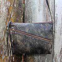 Leather shoulder bag, 'Selayar Vintage' - Leather Shoulder Bag in Faded Black Brown with 2 Pockets