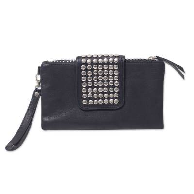 Leather Wristlet Bag Black Clutch with Stainless Steel Studs