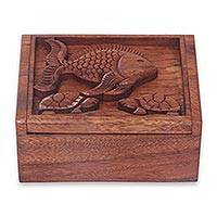 Wood box, 'Underwater Friends' - Hand Carved Decorative Wood Box Fish and Turtle Theme