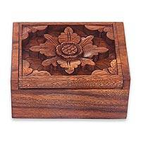 Wood box, 'Lovely Lotus' - Traditional Balinese Flower Carving Handmade Wood Box