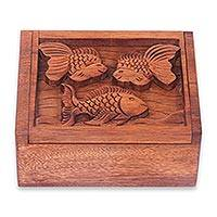 Wood box, 'Goldfish Trio' - Hand Crafted Balinese Fish Theme Decorative Box