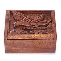 Wood box, 'Parrot' - Hand Carved Suar Wood Box from Bali with Parrot Theme