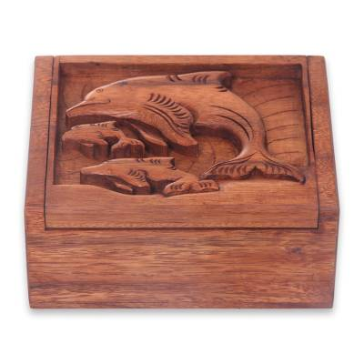 Wood box, 'Lovina Beach Dolphins' - Balinese Dolphin Theme Hand Crafted Wood Box