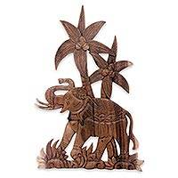 Wood relief panel, 'The King's Elephant' - Hand Crafted Elephant and Palm Tree Wood Relief Panel