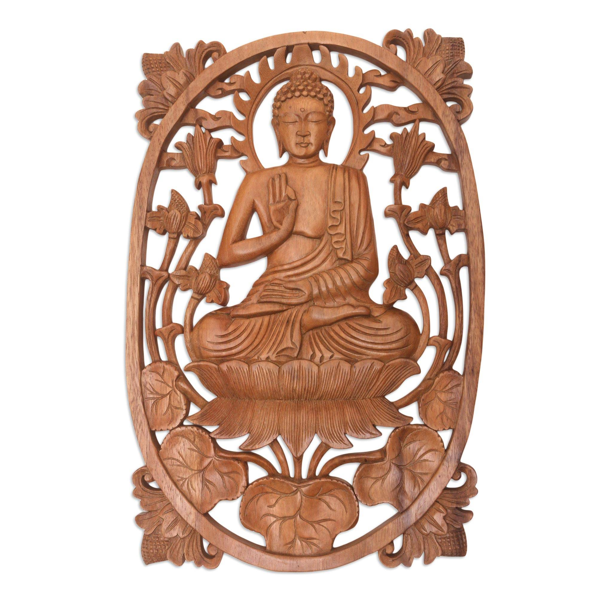 Unicef Uk Market Hand Carved Balinese Buddha Relief Panel For The Wall Meditating Buddha