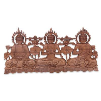 Wood relief panel, Buddha Trio