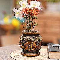 Mahogany decorative vase, 'Balinese Goldfish' - Five Inch Hand Carved Gilded Mahogany Decorative Vase