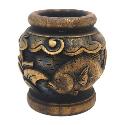Mahogany decorative vase, 'Balinese Goldfish' - Five Inch Hand Carved Gilded Mahogany Decorative Vase
