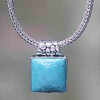 Sterling silver pendant necklace, 'Blue Dreams' - Balinese Sterling Silver Necklace with Turquoise Color Gem