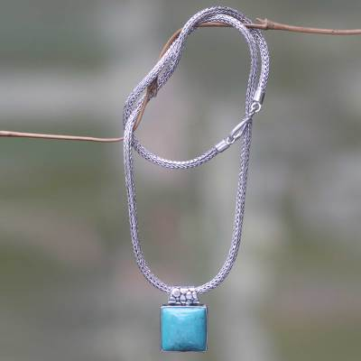 Balinese Sterling Silver Necklace with Turquoise Color Gem