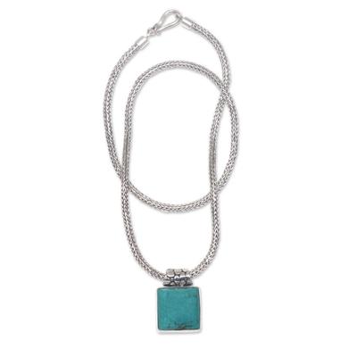 Sterling silver pendant necklace, 'Blue Dreams' - Balinese Sterling Silver Necklace with Turquoise Color Gem