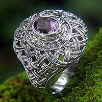 Amethyst cocktail ring, 'Carnation' - Amethyst on Sterling Silver Cocktail Ring from Bali