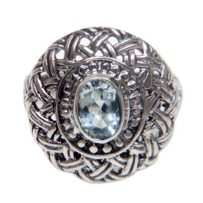 Fair Trade Floral Jewelry Sterling Silver Blue Topaz Ring