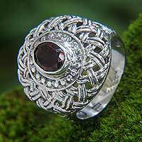 Garnet cocktail ring, 'Carnation' - Garnet Flower Sterling Silver Cocktail Ring from Bali