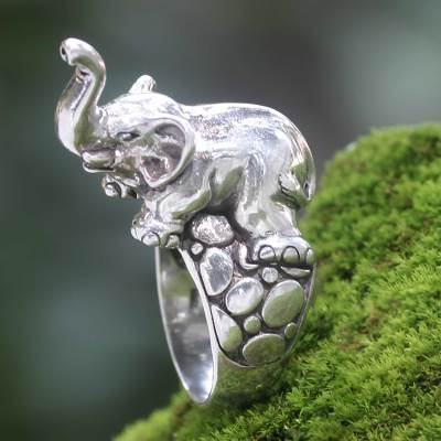 Men's sterling silver ring, 'Sumatran Elephant' - Handcrafted Sterling Silver Elephant Theme Men's Ring