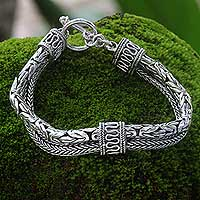 Sterling silver braided bracelet, 'Dragon Lore'