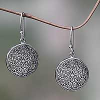 Sterling silver dangle earrings, 'Sacred Moon'
