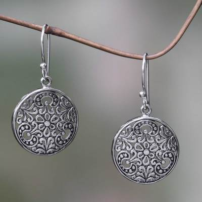 Sterling silver dangle earrings, 'Sacred Moon' - Balinese Handcrafted Sterling Silver Hook Earrings