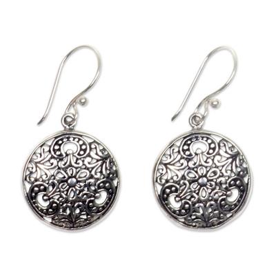Sterling silver dangle earrings, 'Sacred Moon' - Balinese Handcrafted Sterling Silver Hook Earrings