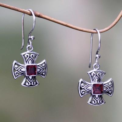 Garnet dangle earrings, 'Cross Pattee' - Handcrafted Balinese Silver Cross Earrings with Garnet