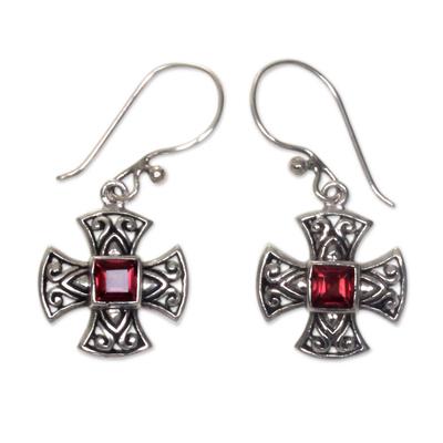 Handcrafted Balinese Silver Cross Earrings with Garnet