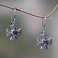 Amethyst dangle earrings, 'Cross Pattee'
